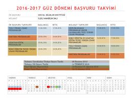 2016-2017 güz dönemi başvuru takvimi