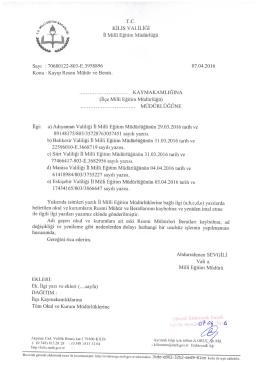 Page 1 9° *- T.C. KİLİSVALİLİĞİ - e -y İl Millî Eğitim Müdürlüğü Sayı