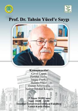 Prof. Dr. Tahsin Yücel`e Saygı
