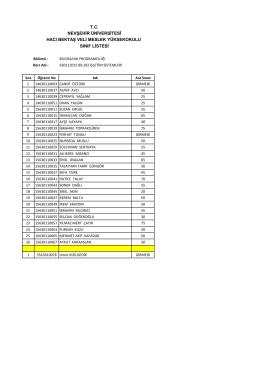 tc nevşehir üniversitesi hacı bektaş veli meslek yüksekokulu sınıf listesi