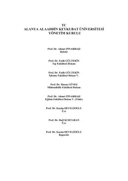 Yönetim Kurulu - Alanya Alaaddin Keykubat Üniversitesi