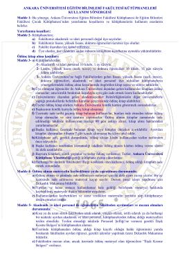 EBF Kütüphane Kullanım Yönergesi - Ankara Üniversitesi Eğitim
