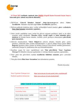 24 Nisan 2016 tarihinde yapılacak olan EKPSS (Engelli Kamu