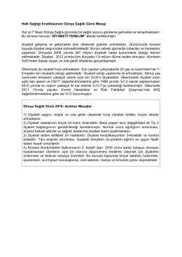 Halk Sağlığı Enstitüsünün Dünya Sağlık Günü Mesajı