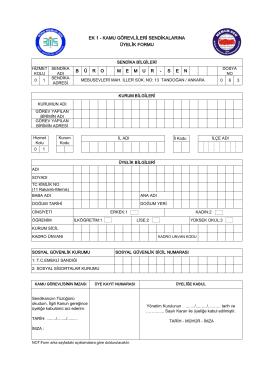 Üyelik Formu - Büro Memur