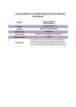 2015-2016 aerobik cimnastik türkiye şampiyonası açıklamalar