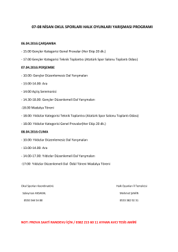 halk oyunları 7-8 nisan program