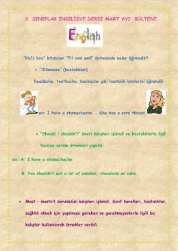 3. Sınıflar İngilizce