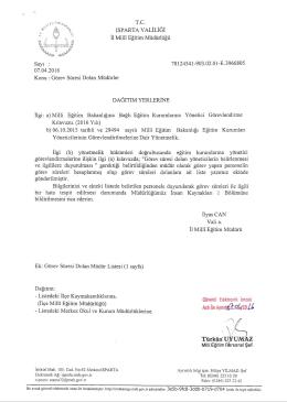 Görev Süresi Dolan Müdürler - Isparta İl Milli Eğitim Müdürlüğü