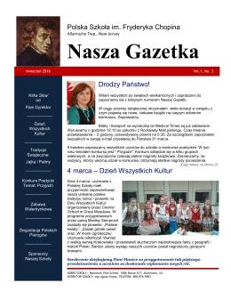 Szkolna gazetka - Polska Szkoła w Allamuchy, NJ