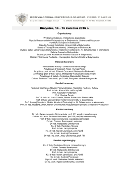 Program konferencji - Politechnika Białostocka