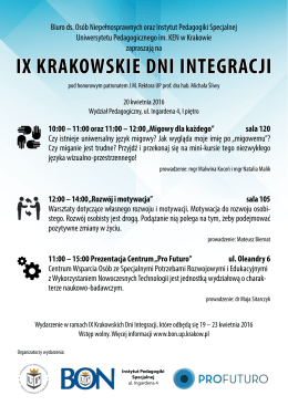 ix krakowskie dni integracji - Biuro ds. Osób Niepełnosprawnych