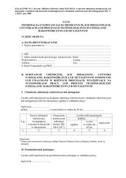 wzór informacja o substancjach chemicznych