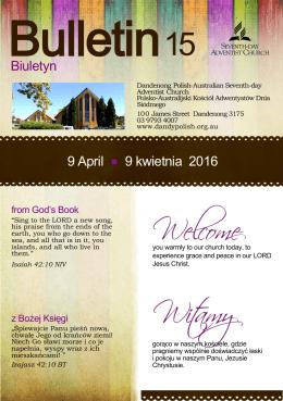 Biuletyn 9 April 9 kwietnia 2016