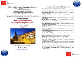 """VŠB - Uniwersytet Techniczny Ostrawa """"International"""