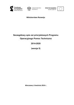 Szczegółowy opis osi priorytetowych Programu Pomoc Techniczna