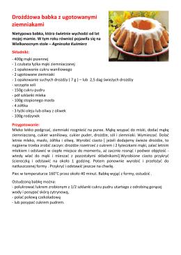 Drożdżowa babka z ugotowanymi ziemniakami