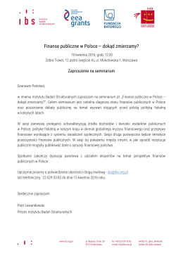 Zaproszenie – Seminarium 19.04.16