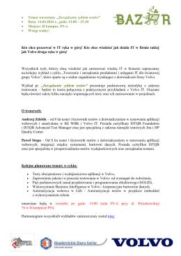 """• Temat warsztatu: """"Zarządzanie cyklem testów"""" • Data: 14.04.2016 r"""