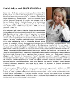 prof. dr hab. n. med. Beata Kos – Kudła, specjalista chorób
