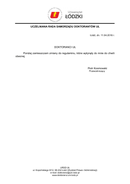 Lista zmian – pismo przewodniczącego URSD