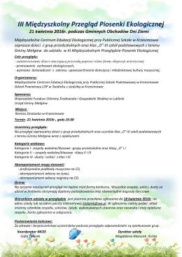 III Międzyszkolny Przegląd Piosenki Ekologicznej - sp