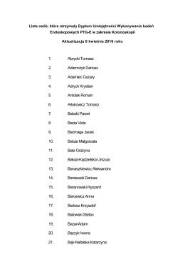 Lista osób, które otrzymały dyplom umiejętności wykonywania