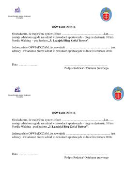 Oświadczenie Nordic Walking