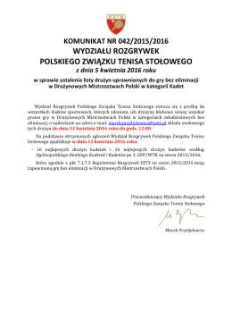 wydziału rozgrywek polskiego związku tenisa stołowego