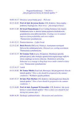 """Program Konferencji – 7.04.2016 r. """"Jak przygotować krowę do"""