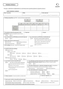 Ankieta przebiegu operacji i okresu pooperacyjnego