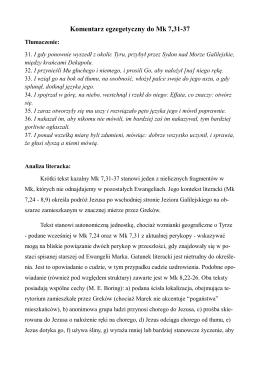 Komentarz egzegetyczny do Mk 7,31-37