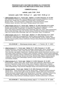 Program zajęć 2015/16