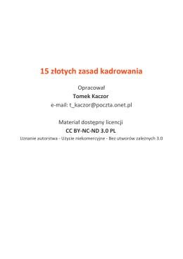 15 złotych zasad kadrowania (oprac. Tomek Kaczor)