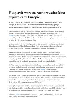 Eksperci: wzrasta zachorowalność na szpiczaka w Europie