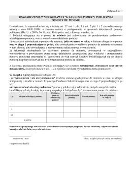 Oświadczenie wnioskodawcy w zakresie pomocy publicznej