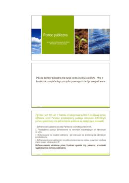 Pomoc publiczna - Wojewódzki Fundusz Ochrony Środowiska i