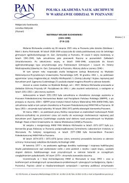 Inwentarz - Archiwum PAN Oddział w Poznaniu