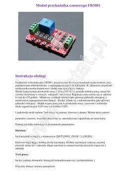 Moduł przekaźnika czasowego FRM01 Instrukcja obsługi
