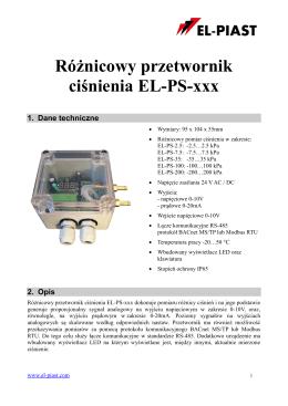 DTR przetwornika ciśnienia EL-PS-xxx - EL