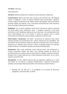 Test Allena / Allen test/ Krzysztof Pietrzak Określenie. Badanie