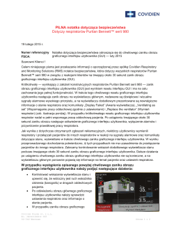 PILNA notatka dotycząca bezpieczeństwa Dotyczy respiratorów