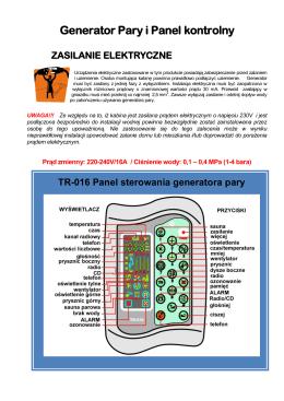 Instrukcja Obsługi Generatora Pary i Panelu
