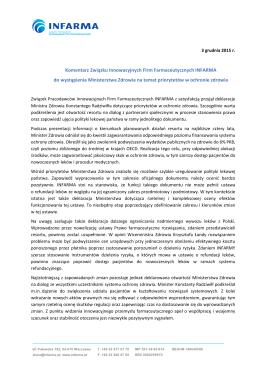 Komentarz INFARMY do wystąpienia Ministra Zdrowia 3 grudnia 2015