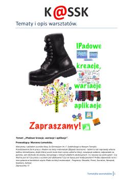 Tematy i opis warsztatów.