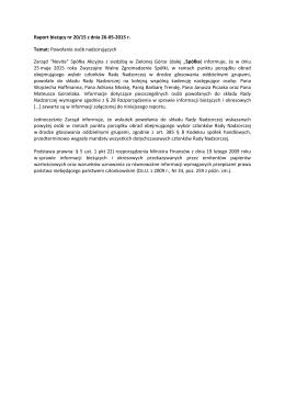 Raport bieżący nr 20/15 z dnia 26-05-2015 r. Temat