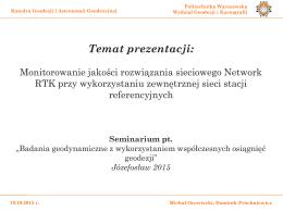 Temat prezentacji: - Politechnika Warszawska