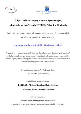 rejestrację na konferencję IATEFL Poland w Krakowie