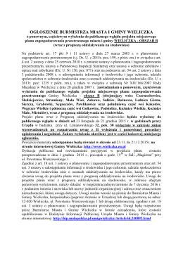 Ogłoszenie Burmistrza Miasta i Gminy Wieliczka