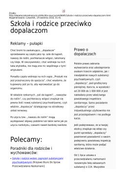 Szkoła i rodzice przeciwko dopalaczom Polecamy: